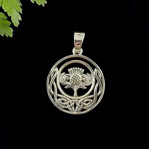 Round Scottish Thistle Celtic Knot Sterling Silver 925 Pendant