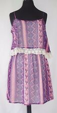 Womens Sundress XS Aztec Purple Pink Chevron Print NWT