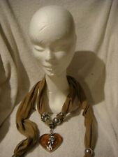 jewelled scarf in light brown with Merano glass heart with rose