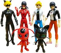 6 pcs Ladybug cat Noir Miraculous Action Figure Toy Set Minifigures Tikki Dolls