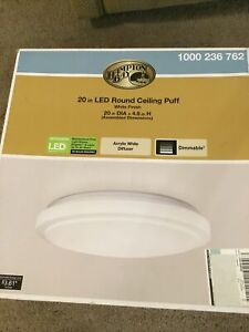 Hampton Bay 54618241 Flush Mount Light 20 in. Round Puff Dimmable White LED