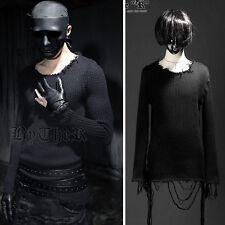 BytheR Men's Vintage Damaged Woolen Knit Sweatshirts Rock Chic Solid Black N