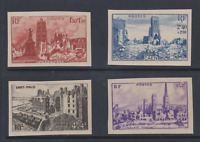 FRANCE SERIE COMPLETE NON DENTELE 744 747  N**TB IMPERFORATE CAEN ST MALO ROUEN