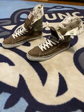 Men True Religion Canvas Fold Down Back Logo High Top SB Shoes Brown 11 Casual