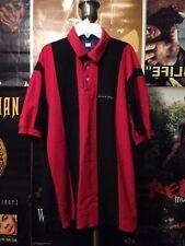 Tommy Hilfiger Polo Shirt Sz L Vintage Athletic Red Black Stripe VTG Rugby