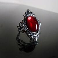 Victorian gothic ring Ruby red filigree silver steampunk goth wedding SINISTRA