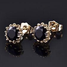 Golden Sun Flower Daisy Stud Black Crystal 18K Yellow Gold Filled Women Earrings