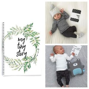 Monochrome Milestone Cards & Baby Memory Book Baby Shower Gift Set