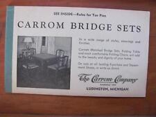 CARROM Company Bridge Sets Ad w/Ten Pins Game Rules Score Card LUDINGTON MI