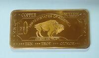 10 oz Ten Troy Ounce American Buffalo .999 Pure Copper Bullion Bar Cu Element