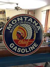 "MONTANA GASOLINE SIGN 30"" VINTAGE PORCELAIN LOOK ADVERTISING GAS OIL AUTO NICE!"