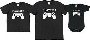 Player 1 2 or 3 T-Shirt Babygrow Vest Father Son Funny Gift Gamer Gaming Tee Top