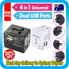 Travel Adapter Universal AC Converter Socket Plug iPhone5 USB Charger Port White