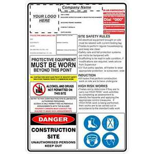 Construction Site Signs -  CONSTRUCTION SITE COMBINATION SIGN (SITE RULES)