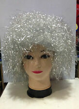 CARNEVALE HALLOWEEN PARRUCCA WIG CHARLESTON ARGENTO SILVER