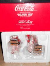 Dept 56 Snow Village Coca-Cola Delivery Men, Billboard, & Neon Sign Nib