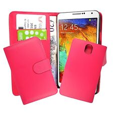 CASE FOR SAMSUNG GALAXY NOTE 3 PLAIN HOT PINK WALLET COVER