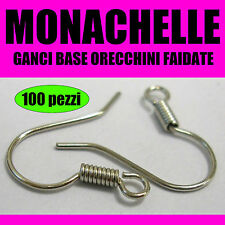 100x MONACHELLE ARGENTATE nichel free ganci orecchini componenti fai da te diy