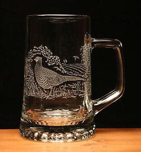 Pheasant game bird engraved glass pint tankard gift present