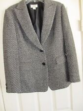 TALBOT'S TWEED BLACK & WHITE JACKET LINED 2 POCKETS BUTTON FRONT SIZE 10
