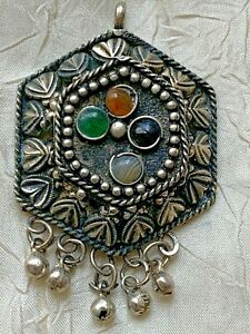 Vintage North African Silver Pendant - Four cabochons inclusions - 5.5cm