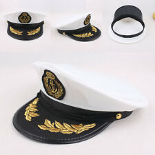 CAPTAIN HAT WHITE SATIN YACHT BOAT NAVY UNISEX SAILOR COSTUME CAP·DRESS Pro POP