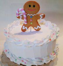 "Large Pastel Gingerbread Man Fake Cake Display 9"" Faux Cake- White Confetti Prop"