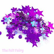 Bag of 100+ Sparkling Purple Sequins - Mixed Shapes
