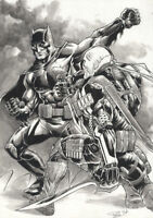 DC Comics BATMAN vs DEATHSTROKE The TERMINATOR Original Art JOKER HARLEY GOTHAM