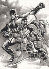 DC Comics BATMAN vs DEATHSTROKE The TERMINATOR Original Art JOKER HARLEY GOTHAM