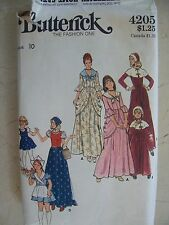 Butterick Pattern 4205 Misses Girls Pilgrim Colonial Dutch Gypsy Costume sz 10