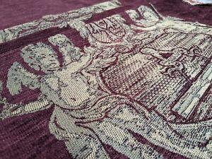 Chenille CHERUBS Medallion Panels Burgundy Upholstery Cushion Fabric Material