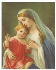 """Catholic Print Picture Virgin Mary holding Baby Jesus 8x10"""" ready to be framed"""