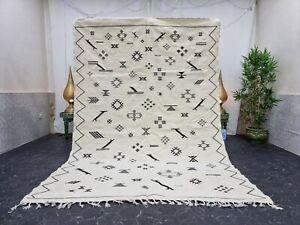 "Moroccan Handmade Kilim Zanafi Rug 6'2""x9'2"" Berber Abstract White Black Rug"