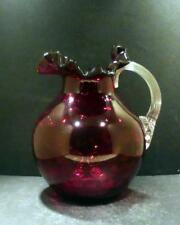 Victorian Red Spot Optic Ruffled Water Pitcher w/ Reeded Clear Handle - MINT
