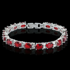 "7.25"" Tennis Bracelet  Oval Round Red Ruby Cubic Zirconia White Gold Plated"