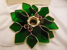 PRETTY VTG. JORDAN'S STAINED GLASS 24K GOLD PLATE HOLLY & BERRIES CANDLE HOLDER