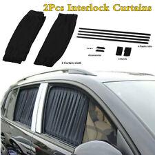 2Pcs Black Car Side Window Sun Shade Cover Interlock Curtains UV Sunshade Visor