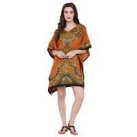 Women Tunic Dress Kaftan Plus Size Brown Caftan Women Boho Beach Wear Mini Dress
