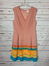 TRACY REESE Anthropologie Women's 12 Pink Spring Summer Painterly Pleated Dress