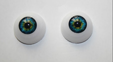 22mm Green&Blue Cobalt Half Round Acrylic Eyes for Reborn baby /BJD/OOAK Dolls