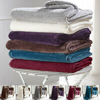 Luxury Throws Double King Size Fleece Warm 2 Seater Sofa Blanket Sofa Bed Waffle