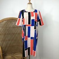 Vero Moda Shift Dress Short Sleeve Size S 10 Geometric Print Slightly Sheer 60s