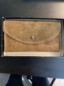 Vintage Suede Checkmate Clutch Purse Wallet