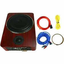 Wooden 8'' Under Seat Car Active Subwoofer Speaker Stereo Bass Audio Powered Amp