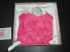 Doudou Plat Lapin Gris Rose Framboise Plume Nœuds Tissu Blanc Kaloo Neuf 2 Disp