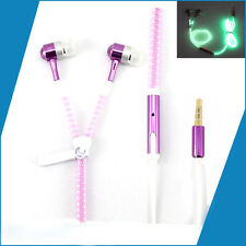 Hot Light Headphones Earphones Headset Luminous zipper In-Ear headphone Pink