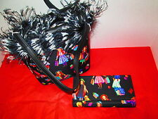 Foxy Black Print Feather Purse and Matching Wallet, NEW