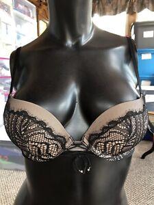 Womens Victorias Secret Bra, Very Sexy Push Up Style Size 32 B Black Brown