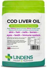 Cod Liver Oil 1000mg 360 Capsules High in EPA DHA Omega 3 Vitamin a & D Lindens